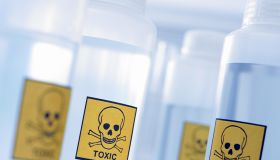 Bottles with toxic labels