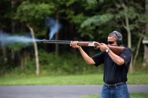 President Obama Shoots Targets At Camp David