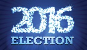 USA 2016 election design template on dark blue rays background