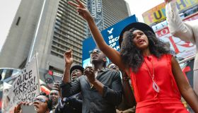 Janelle Monae (right), a singer with Wondaland, gestures...