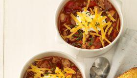 Chili in white bowls