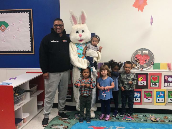 Don Juan and The Easter Bunny visit Youthland Academy in Norwood, Cincinnati