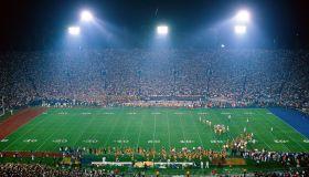 Interior of football stadium